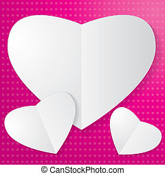 Paper Heart on pink background