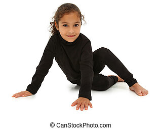 Beautiful Hispanic Preschooler barefoot on white floor with clipping path.