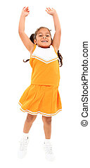 Beautiful hispanic cheer leader in uniform jumping over...