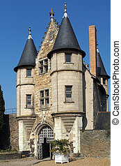 Angers castle, entrance to the stately courtyard, april...