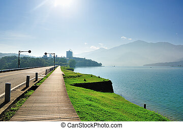 Lakeside path - Lake side path in Taiwan, sun moon lake