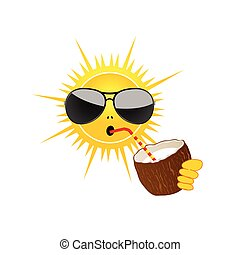 sun drink coconut milk vector illustration