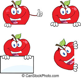 Red Apples With Blank Sign - Happy Red Apples Characters...