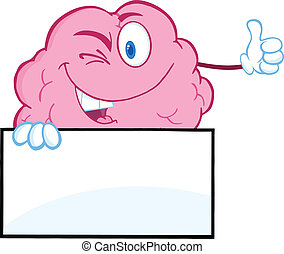 Winking Brain Character Over Sign - Winking Brain Character...
