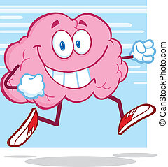 Healthy Brain Character Jogging - Healthy Brain Cartoon...
