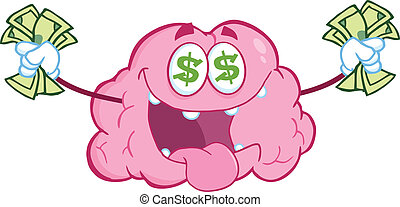 Money Loving Brain Character - Money Loving Brain Cartoon...