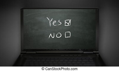 yes no box at notebook computer