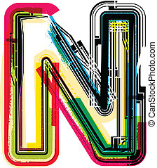Colorful Grunge LETTER N