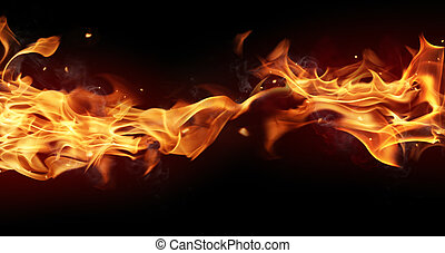 Fire stripe with free space for text. isolated on black...