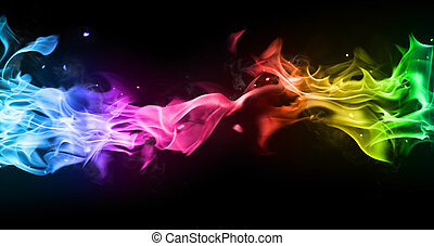 Colored smoke isolated on black background
