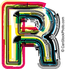 Colorful Grunge LETTER R