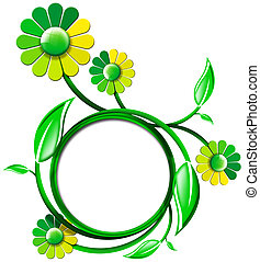 Green Banner with Leaves and Flowers