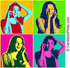 Woman faces with telephonePopart illustration design over...