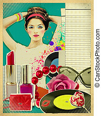 Retro young woman with fashion accessories on old paper...