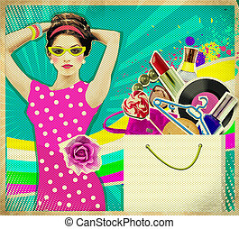Young woman in pink dress retro shopping poster background -...