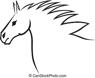Horse head - A contour image of a beautiful horse head