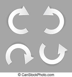 Circle white paper arrow set. Vector illustration