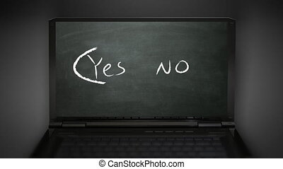 yes no selection - yes no at notebook computer