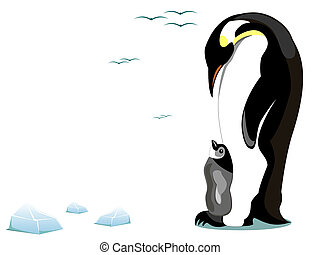 penguin and offspring - illustration of a mother penguin and...