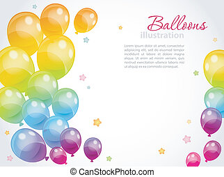 Background with colorful balloons - Vector illustration of...