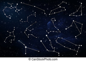 astrological zodiac signs with night sky