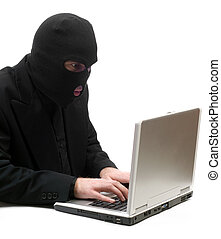 Hacker Typing - A business hacker is breaking into a laptop...