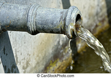 gammal, Vatten, röret, nära, Uppe