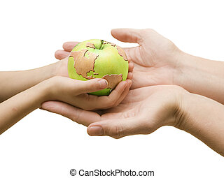 World in your hand now - Four hands and world drawn on green...