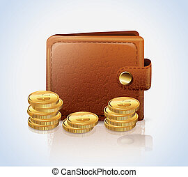 Leather Wallet With Money vector