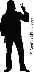 Hippie Guy Silhouette - A Silhouette of a hippie guy giving...