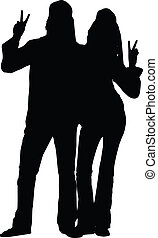 Hippie Couple Silhouette - A silhouette of a hippie couple...