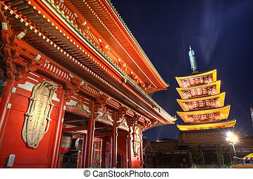 Senso-ji Gate in Tokyo - Gate and pagoda of Senso-ji shrine...