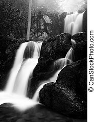 Black and white image of Upper Doyles River Falls on a...