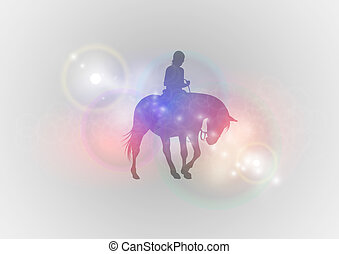 ridding horse abstract - vector silhouette of ridding horse