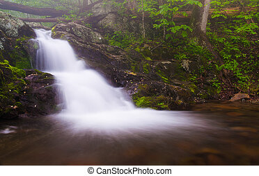 Small waterfall on Doyles River in Shenandoah National Park,...
