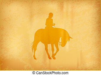 ridding horse - yellow silhouette of ridding horse