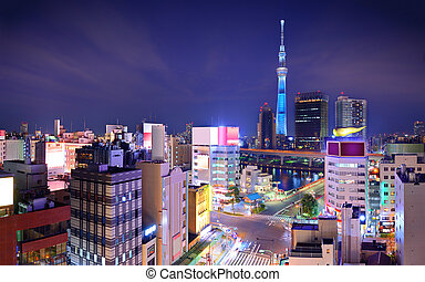 Tokyo Cityscape - Tokyo, Japan cityscape viewed from Asakusa...