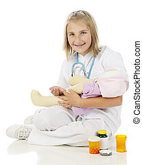 Playing Pediatric Nurse - A happy elementary girl in nursing...