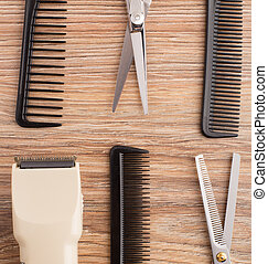 Barber accessories on wooden table