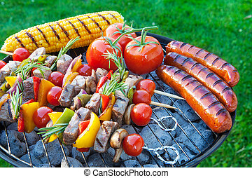 Backyard barbecue - Summertime backyard barbecue cookout.