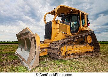 Large yellow bulldozer