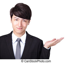 business man shows you copy space - Attractive business man...