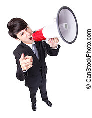 Business man screaming loudly in a megaphone isolated on...