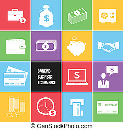 Colorful Business Ecommerce and Banking Money Icons Set...