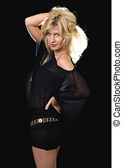 Woman in black mini-dress - Beautiful blond hair woman...