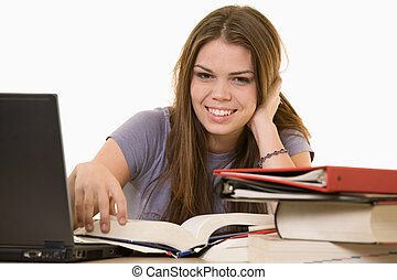 college studen - Young woman sitting in front of laptop...