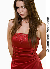 Prom dress - Full body of an attractive young brunette woman...