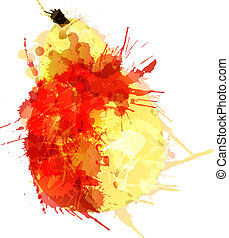 Pear made of colorful splashes on white background