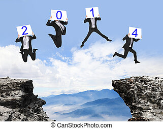 jump to 2014 year , businessman overcome danger precipice...