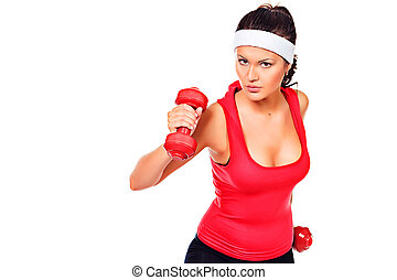 happy sport - Young woman doing exercise with dumbbells...